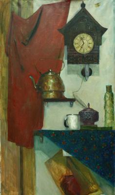 Elena Snigovskaya. Still life with clock