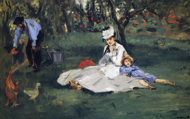 Эдуар Мане. Семья Моне в своем саду в Аржантее