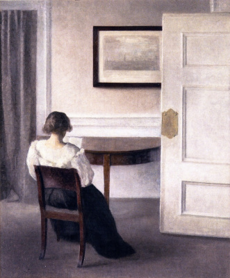 Vilhelm Hammershøi. Reading woman in the interior