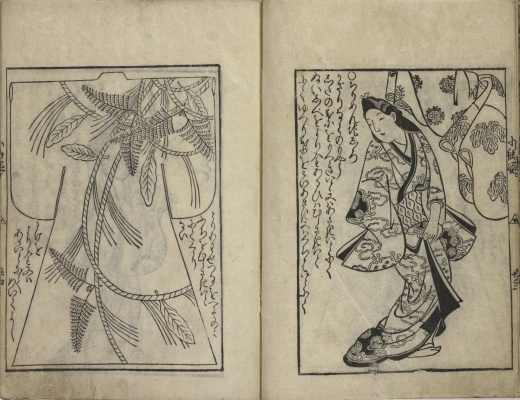 Hishikawa Moronobu. Samples of patterns of kimono. The facing pages from the book.