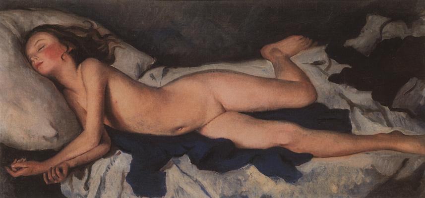 """Зинаида Евгеньевна Серебрякова. Спящая девочка на синем (Катюша на одеяле). Этюд к картине """"Спящая девочка"""""""
