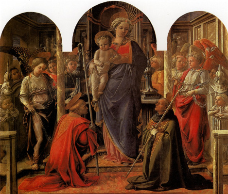 Fra Filippo Lippi. The Madonna and child surrounded by angels