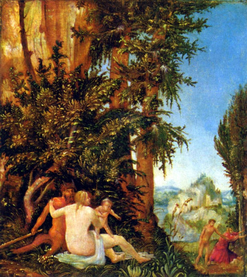Albrecht Altdorfer. Landscape with Satyr family