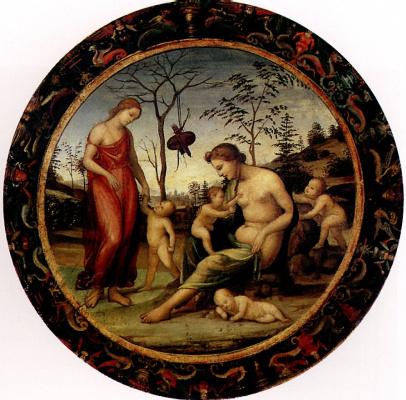 Джованни Антонио Бацци (Содома). Любовь земная и небесная с Антеросом, Эросом и двумя купидонами