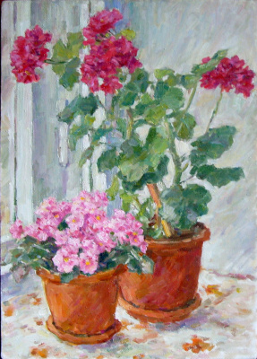 Urii Parchaikin. The flowers on the window