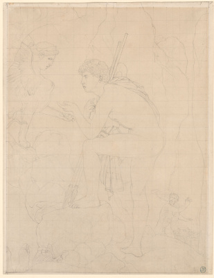 """Jean Auguste Dominique Ingres. Study for the painting """"Oedipus and the Sphinx"""""""