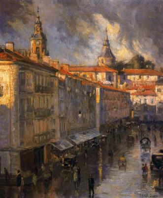 Salvador Díaz Ignacio Ruiz de Olano. The main street in rainy weather.