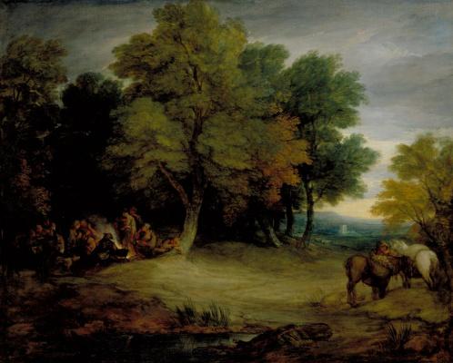Thomas Gainsborough. Gypsy camp at sunset