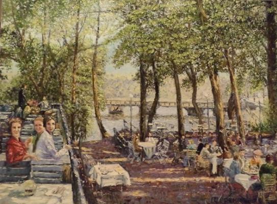 Evgeny Vladimirovich Terentyev. Koenigsberg. Summer cafe by the pond
