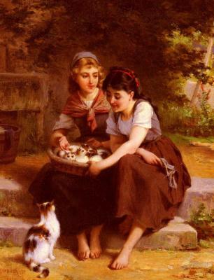 Эмиль Мюнье. Две девушки с корзиной котят