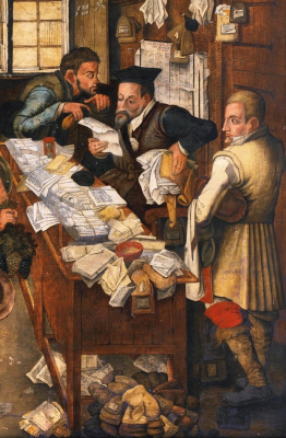 Peter Brueghel The Younger. Rural lawyer (the Peasants from the tax collector). Fragment. Lawyer