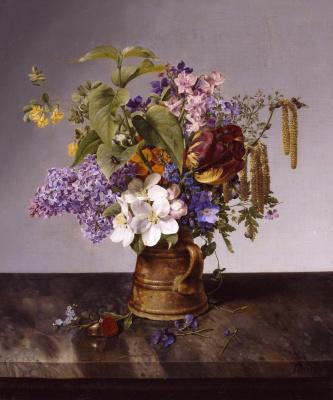 Johann Wilhelm Prairie. Букет садовых цветов. 1831
