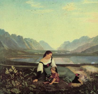 Мать и дитя на лугу. Долина Инна близ Халля