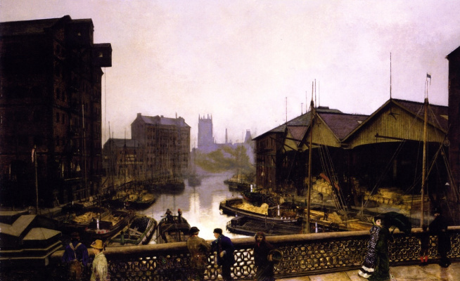 John Atkinson Grimshaw. Leeds Bridge View