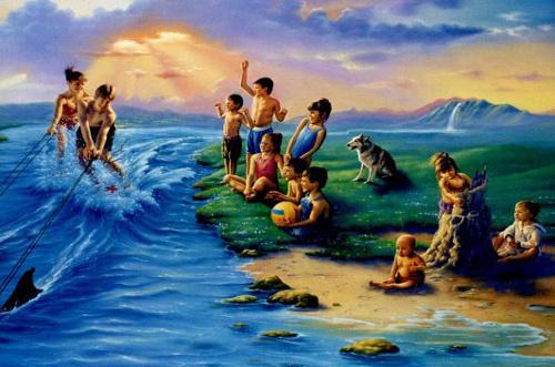 Джим Уоррен. Дети играют на берегу и в воде