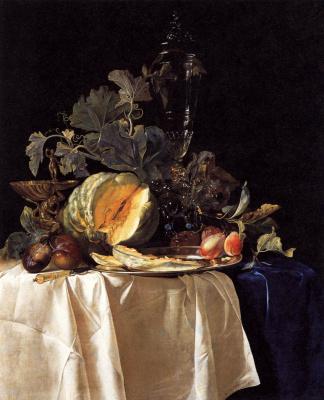 Willem van Aelst. Still life with pumpkin, fruit and vase