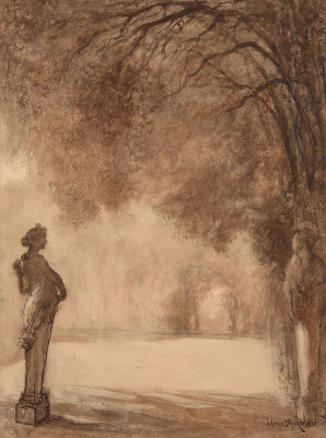 Lucien Levi-Durme. View of the alley in the park of Versailles with statues.