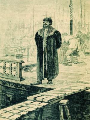 "Andrei Petrovich Ryabushkin. Sadko, a rich Novgorod guest. 1895 Illustration for the book ""Russian epic warriors"""