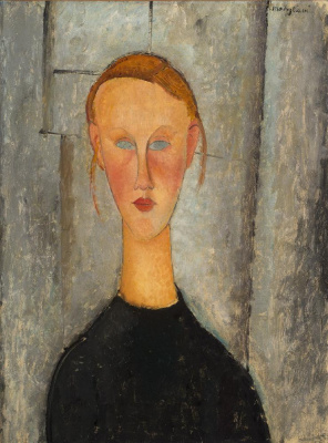 Amedeo Modigliani. Portrait of a girl with blue eyes