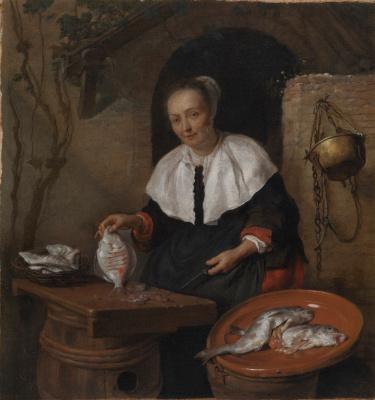 Габриель Метсю. Женщина чистит рыбу