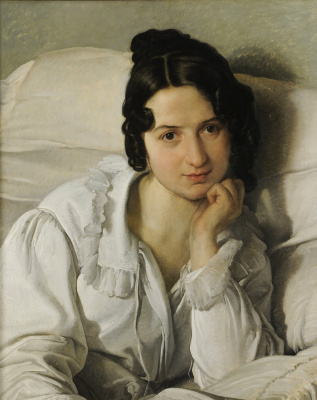 Francesco Ayets. Portrait of Carolina Zucci (Carolina in bed)