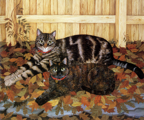 Mimi Wang Olsen. Two lazy cat