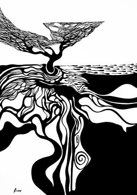 «Самый низ — другой мир» (Из серии «Тайные тропы»). Бумага, тушь, кисть. 2015 г
