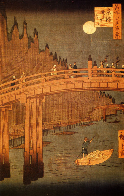 "Utagawa Hiroshige. Bamboo courtyards and bridge Kobayashi in the moonlight. The series ""100 famous views of Edo"""