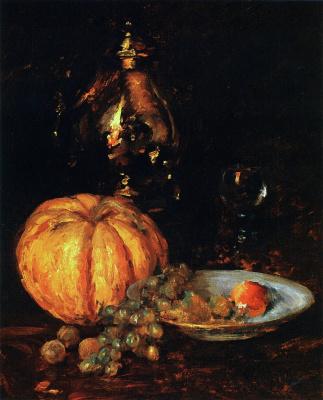 William Merritt Chase. Still life with Belgian pumpkin