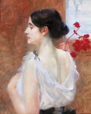 A young woman with a blossoming branch.