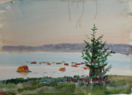 Anatoly Sergeevich Melkov. At a lake. the stones