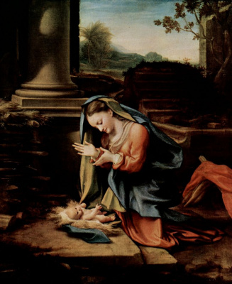 Antonio Correggio. Mary-worshipping baby
