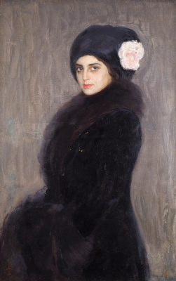 Saveliy Abramovich Sorin. Portrait of a lady in a fur collar.