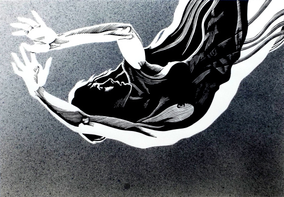 "Vladimir Kataev. ""Black angel 2"", 46 x 66, engraving on linoleum, airbrush, 2011"