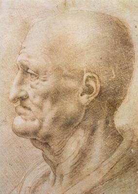 Leonardo da Vinci. Profile of an elderly man