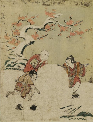 Suzuki Harunobu. Three boys with a huge snowball