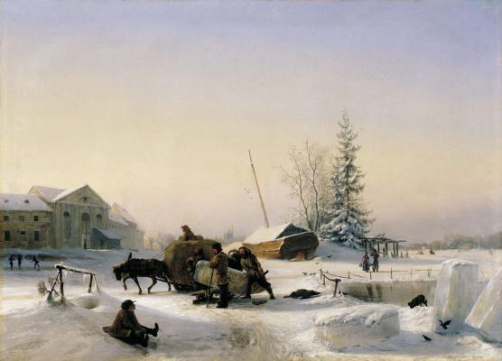 Lev Feliksovich Lagorio. The sledge of ice (Winter view of the former wine town on Vasilievsky island in St. Petersburg, on Chernaya Rechka)