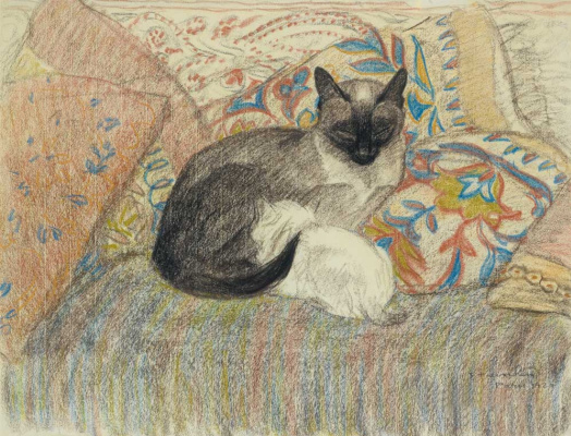 Theophile-Alexander Steinlen. Siamese cat and her kitten