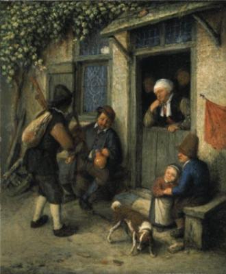 Adrian Jans van Ostade. The traveler at the door of a peasant house