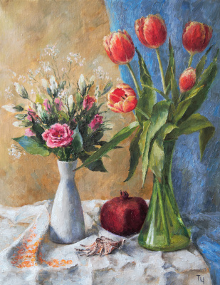 Tatyana Chepkasova. Still life with tulips