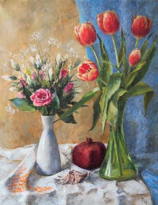 Tatyana Chepkasova. Still life with tulips