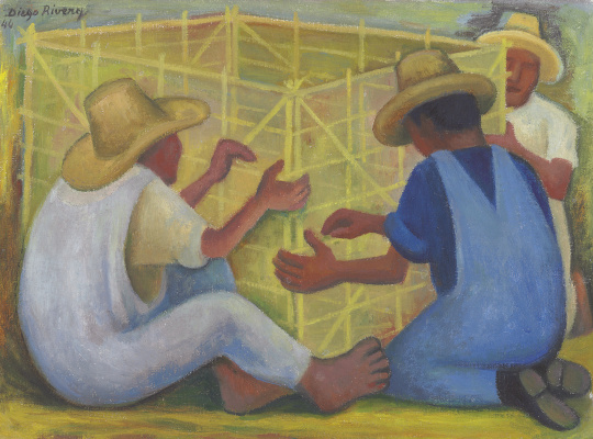 Diego Maria Rivera. Three people make a box