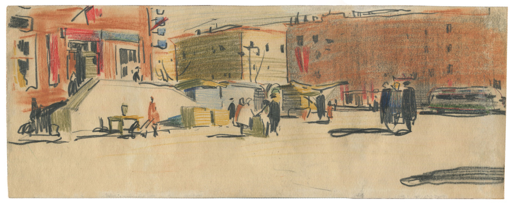 Alexandrovich Rudolf Pavlov. City sketch. 1962 Chelyabinsk.