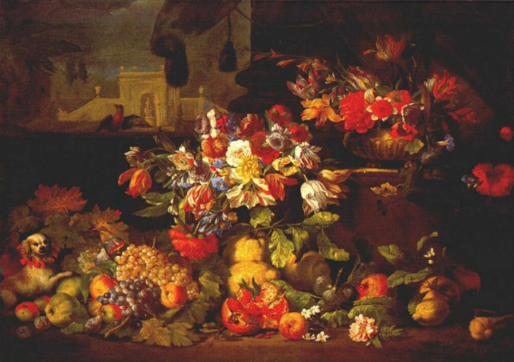 Abraham Brueghel. Flowers and fruits in the landscape