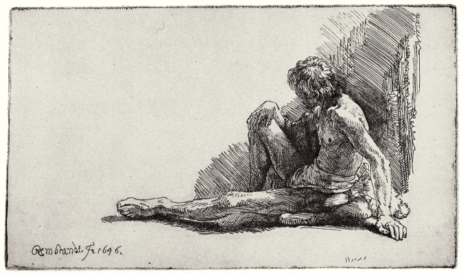 Rembrandt Harmenszoon van Rijn. Sitting Nude