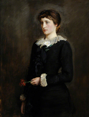 John Everett Millais. Lily Jersey. Portrait of Lillie Langtree, nee Emilie Charlotte Le Breton