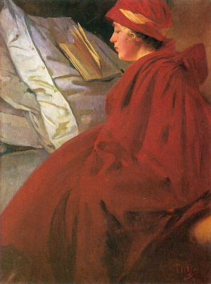 Alfons Mucha. Red coat