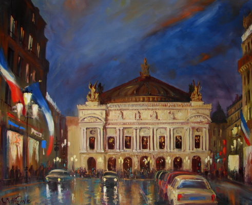 Виталий Викторович Жердев. Paris. Palais Garnier at night. By Vitaliy Zherdev. 2012, oil, canvas, 80 x 65 сm.