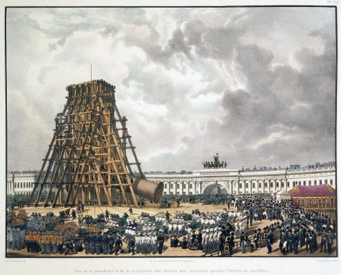 Луи Пьер-Альфонс Адам Бишебуа. Подъем Александровской колонны