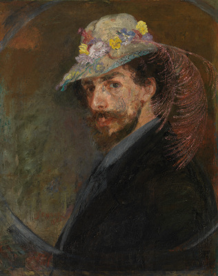 James Ensor. Self portrait in a hat with flowers